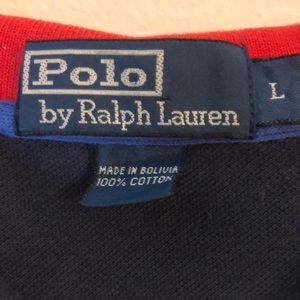 Polo by Ralph Lauren men's polo blue red collar L